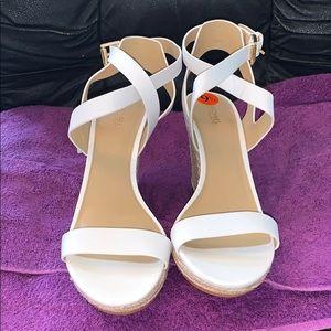 Michael Kors white open-toe wedge espadrilles